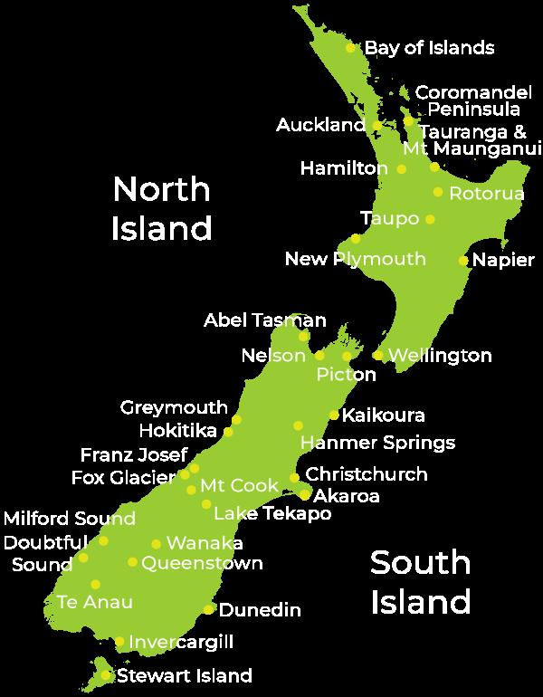 NZ Travel Organiser New Zealand Map
